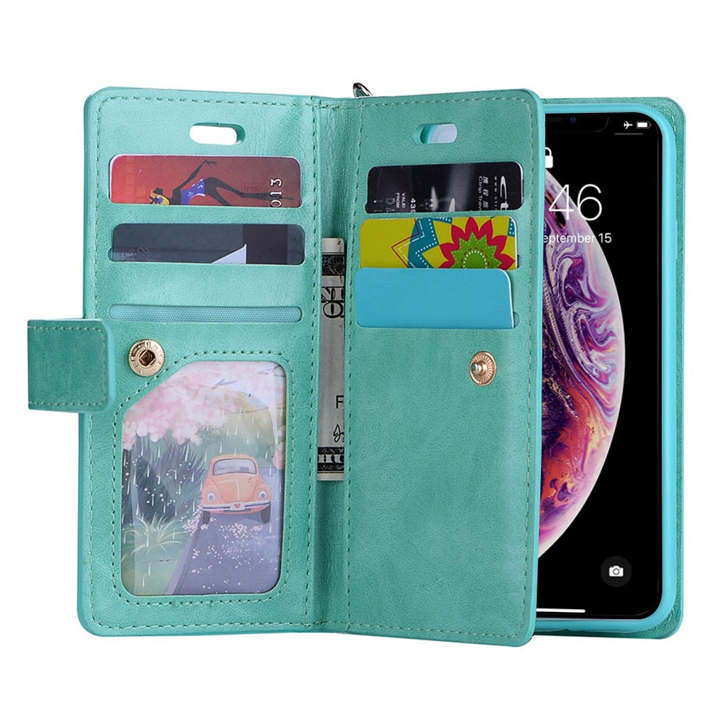 Leather Zipper Wallet Phone Case with Flip Cover iPhone X Xr Xs 11 Pro Max 8 7