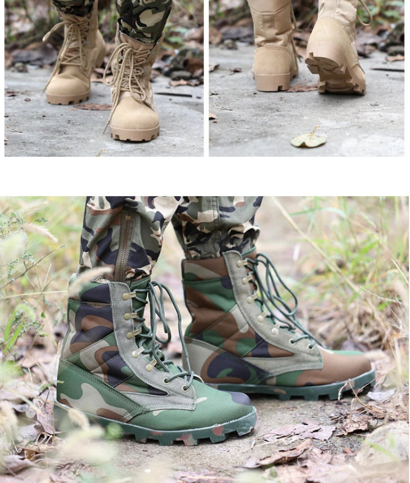 Camouflage Men's Leather Combat Tactical Safety Shoes