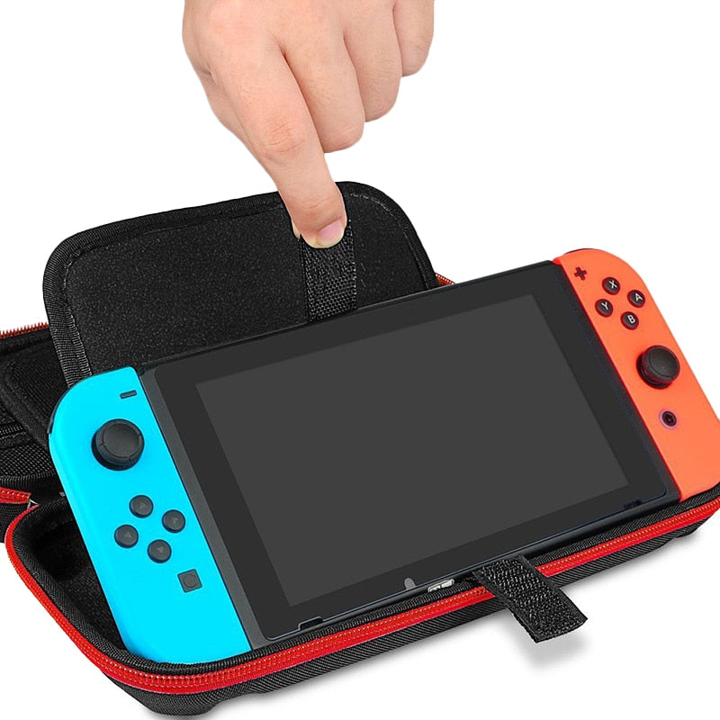 Red Portable Hard Shell Case for Nintendo Switch with Switch Being Inserted
