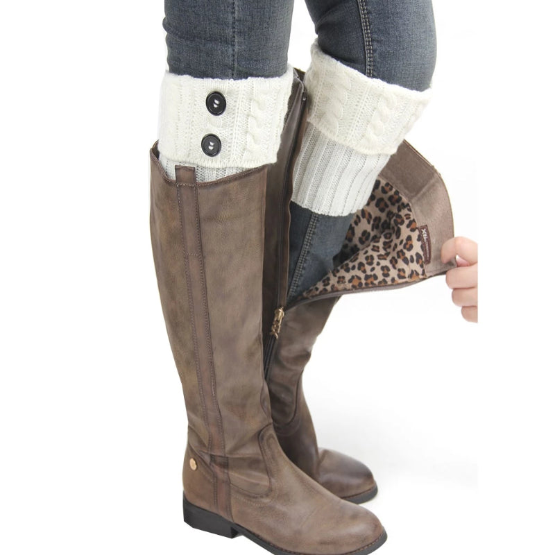 Beige Women's Short Button Crochet Leg Warmer Boot Cuffs