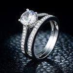 Women's 1.25 Carat Luxury Wedding Engagement 2pc 925 Sterling Silver Ring Set