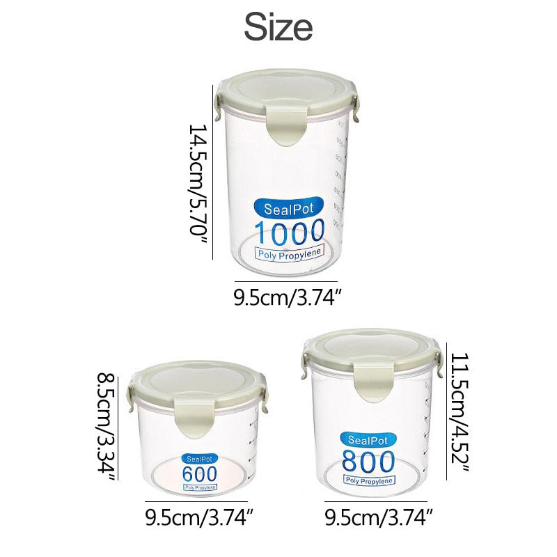 600ml-1000ml Kitchen Food Storage Sealing Containers with Leak Proof Cover