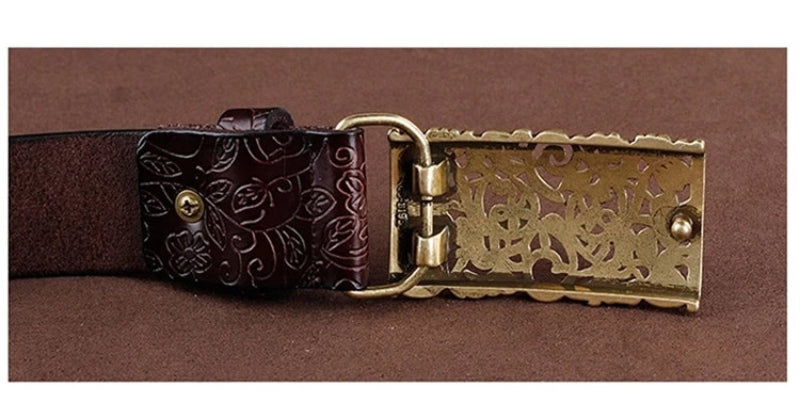 Back of Buckle Women's Vintage Pin Buckle Leather Belt