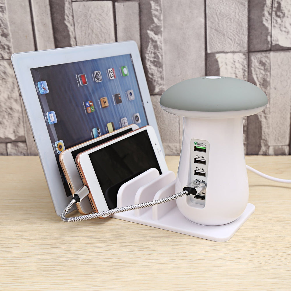 5 Port 3.0 Quick Charging Dock and Desktop Lamp Station