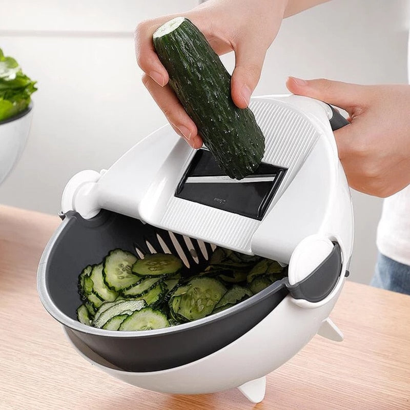 Multifunctional Rotating Vegetable Slicer, Grater, Shredder With Drain Basket