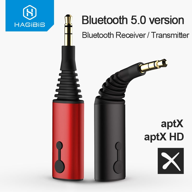 Red Bluetooth 5.0 Receiver Transmitter Wireless Adapter For Headphone