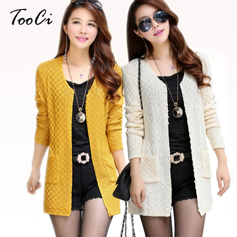 Yellow Women's Knitted Long Cardigan With Pockets Close Up of Buttons