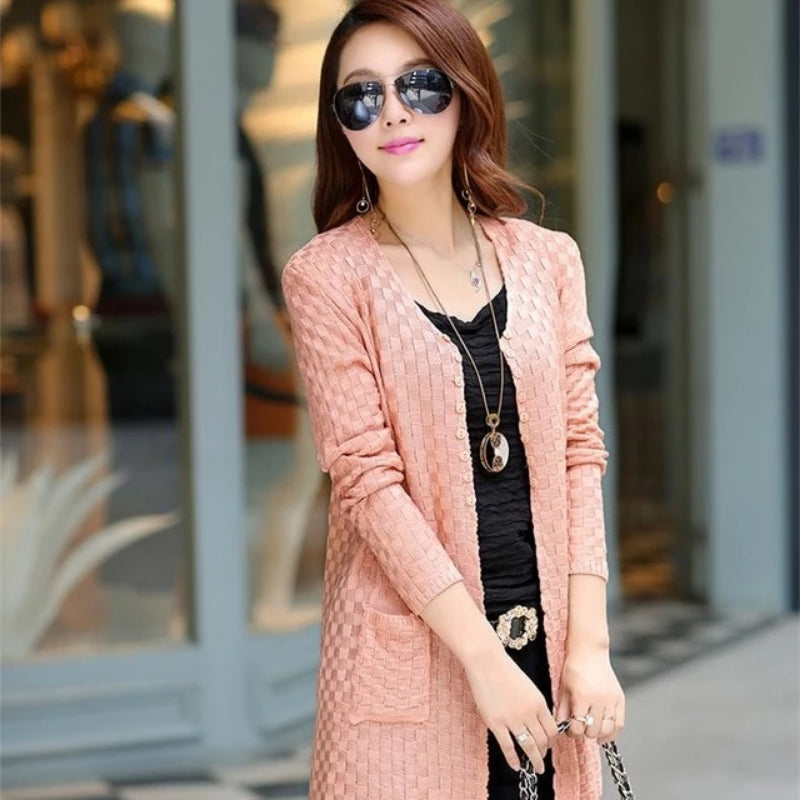 Pink Women's Knitted Long Cardigan With Pockets on Woman