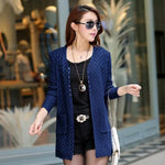 Blue Women's Knitted Long Cardigan With Pockets on Woman