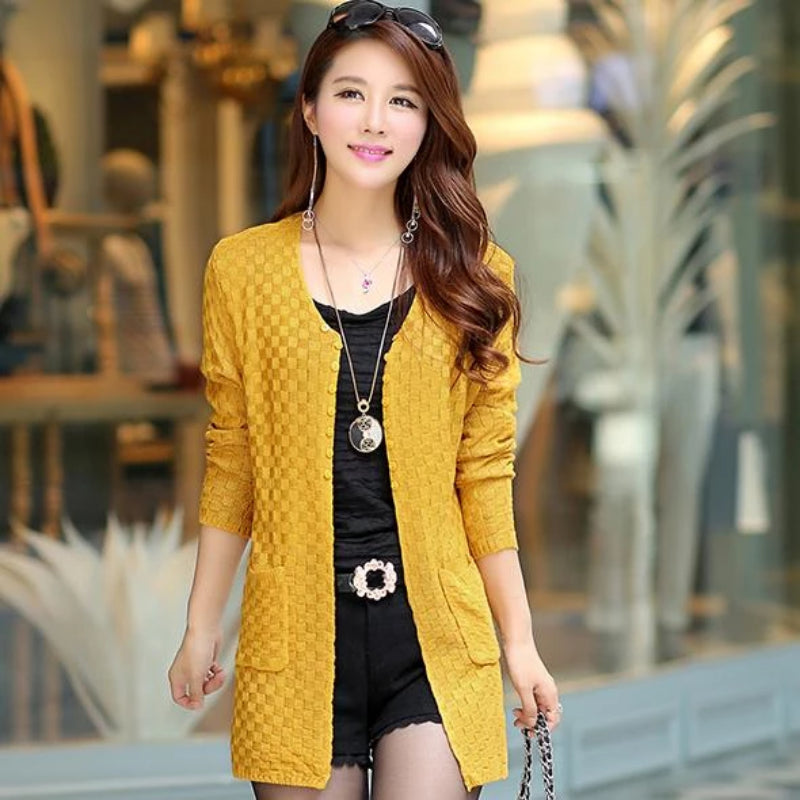 Yellow Women's Knitted Long Cardigan With Pockets on Woman