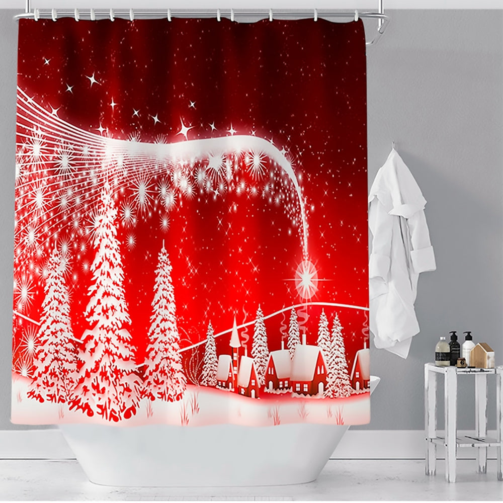 Christmas Shower Curtain OR Bath Mat Set