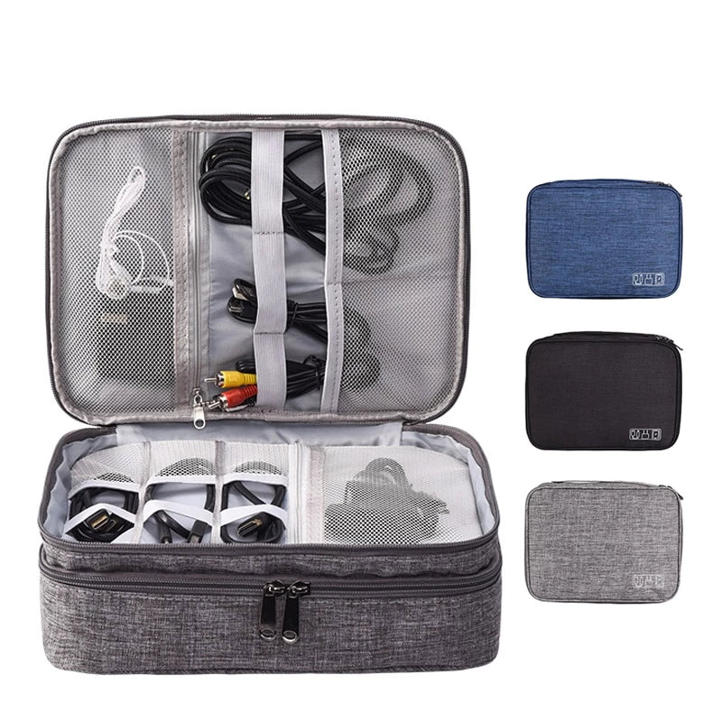 Travel Portable Cable and Accessories Organizer Zipper Storage Bag