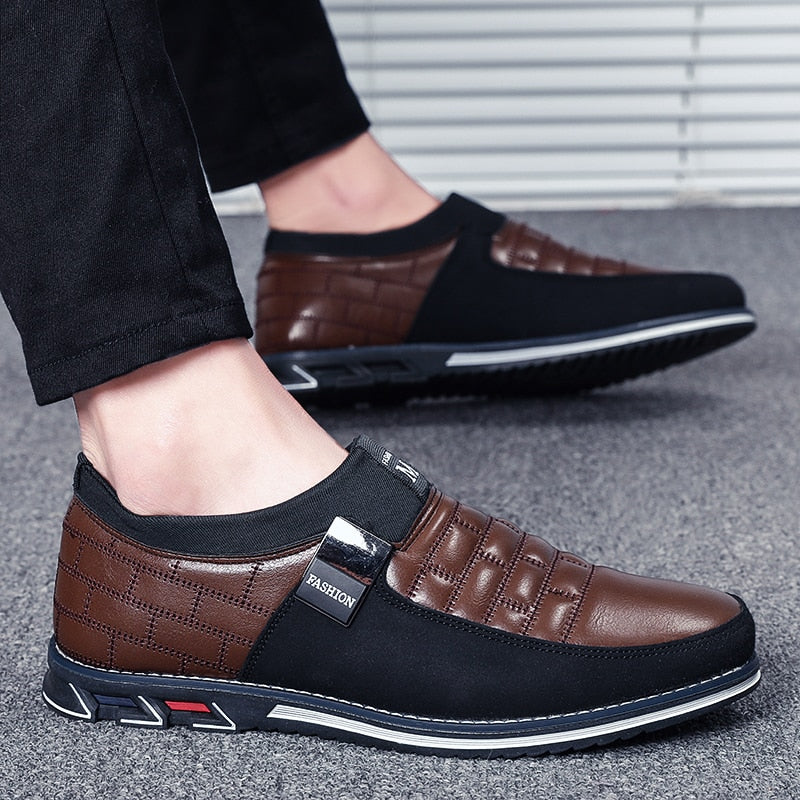 Men's Oxford Leather Casual Slip On Dress Shoe