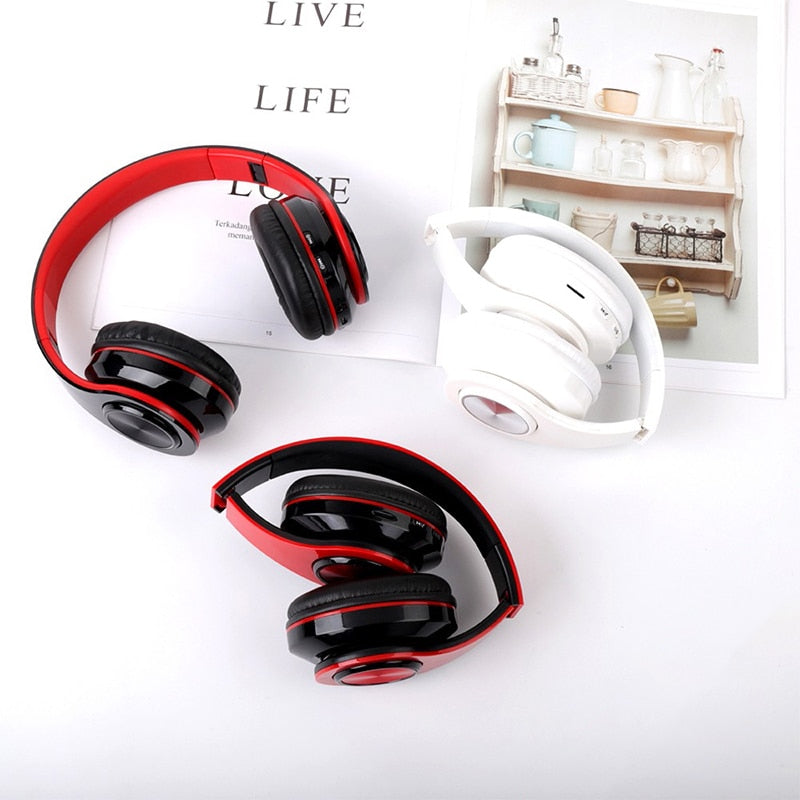 LED Colorful Portable Folding Headphones Built-in FM Wireless Bluetooth With MIC Support TF Card Mp3 Player