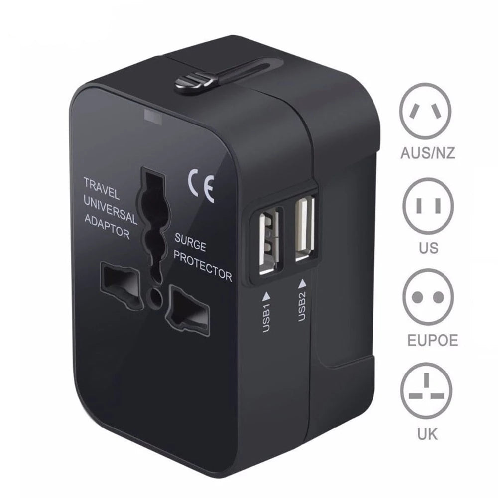 Universal All in One Travel Wall AC Power Plug Adapter with Dual USB Charging Ports