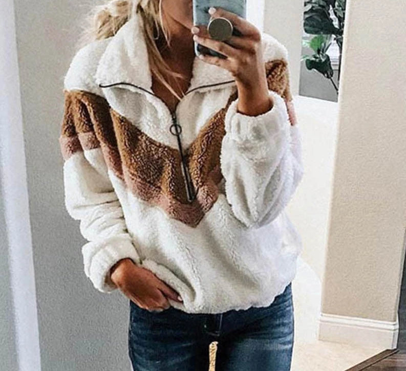 Women's Fleece Oversized Patchwork Pullover Sweatshirt