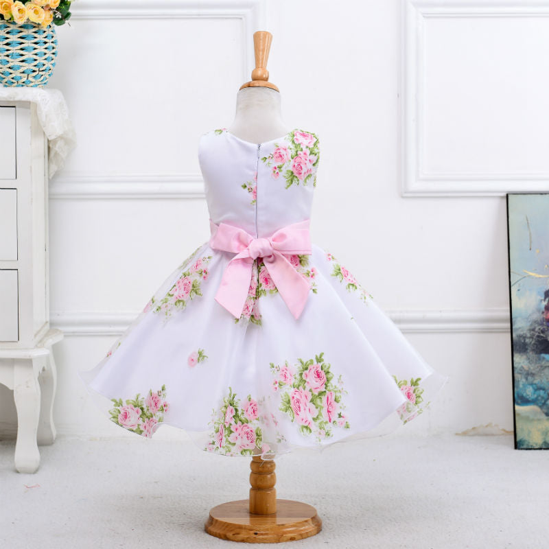 Retail new style summer baby girl print flower girl dress for wedding girls party dress with bow dress for 2-8 Years LM008