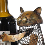 Cat Shaped Metal Wine Bottle and Cork Holder