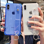 iPhone 11 X XR XS Max 6 6S 7 8 Plus Transparent Soft Wrist Strap Shockproof Back Phone Cover