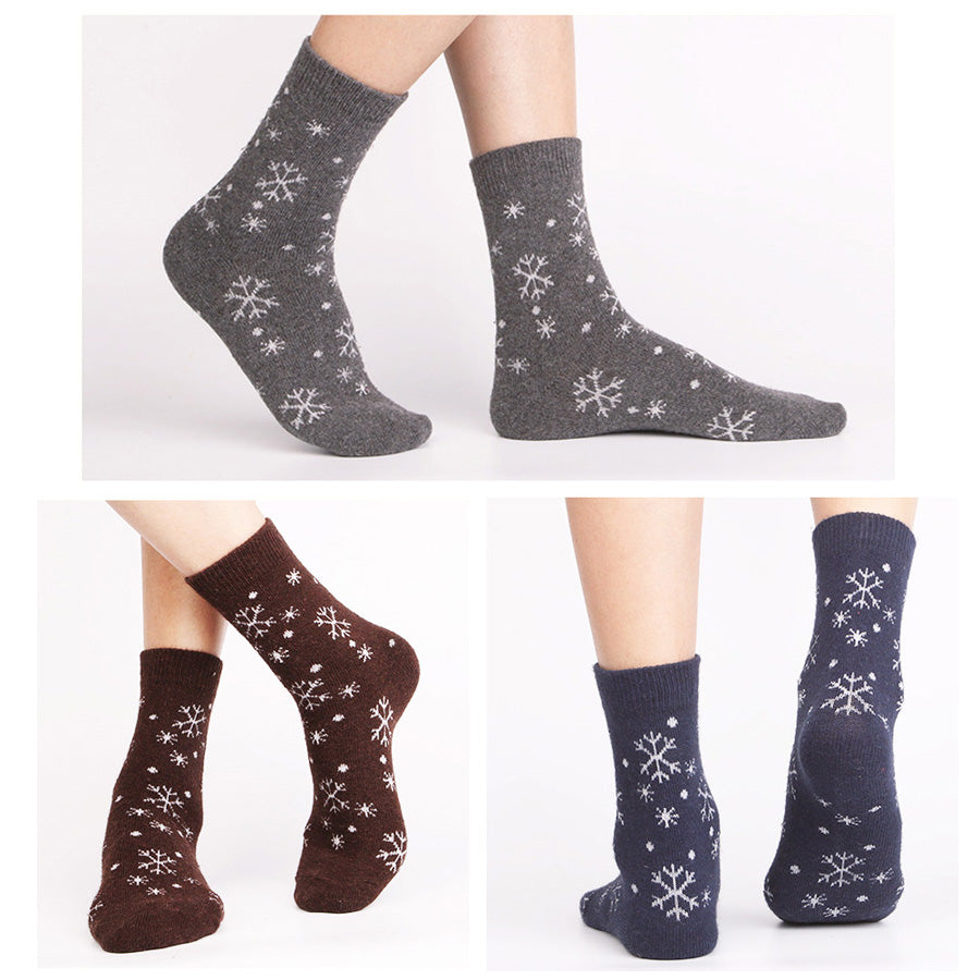 5 Pairs Women's Winter Wool Snowflake Socks