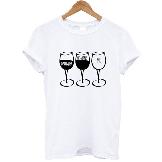 White Funny Wine Optimist T-shirt