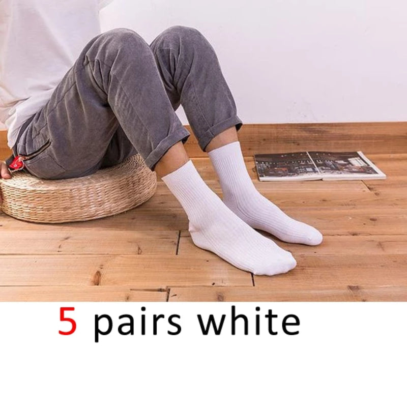 White Men's Cotton Long Business Diabetic Socks