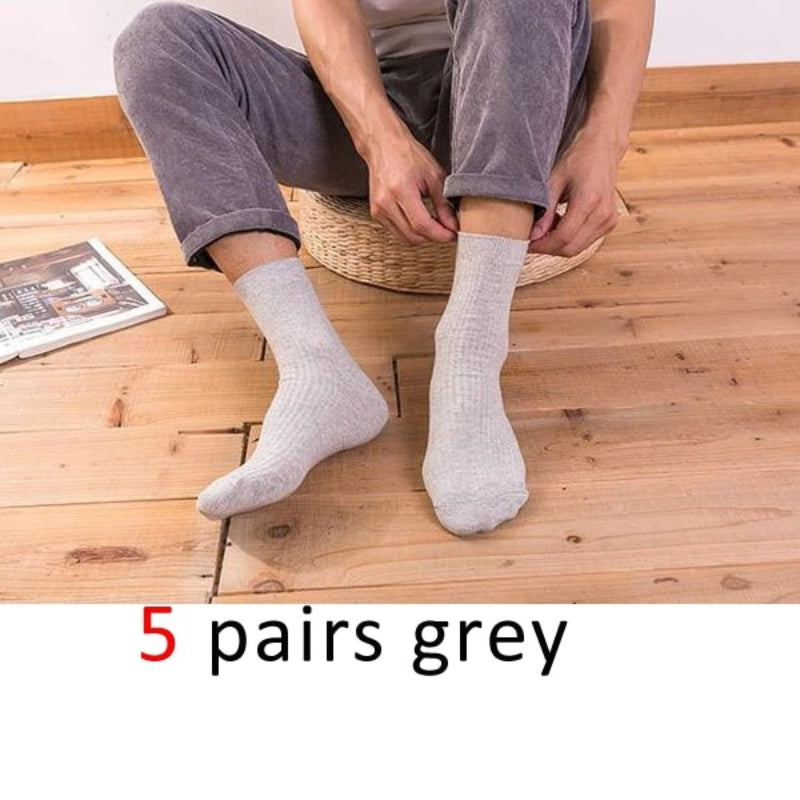Grey Men's Cotton Long Business Diabetic Socks