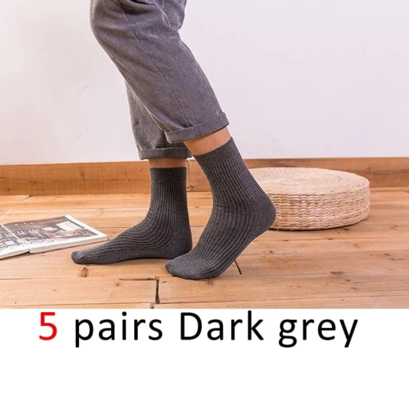Dark Grey Men's Cotton Long Business Diabetic Socks