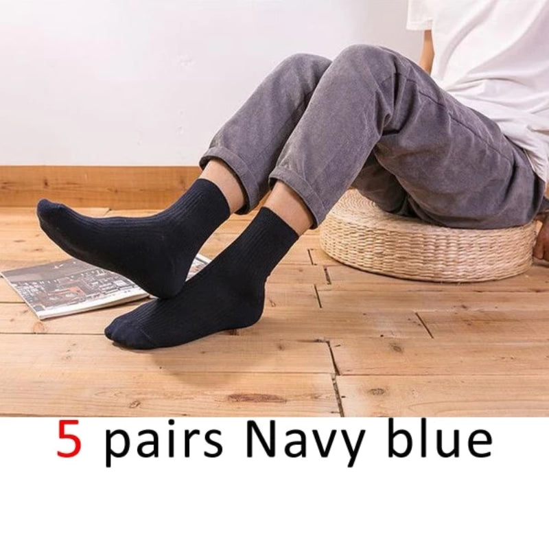 Navy Blue Men's Cotton Long Business Diabetic Socks