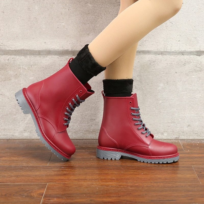 Wine Red Women's Fashion Rubber Lace Up  Rain Boots