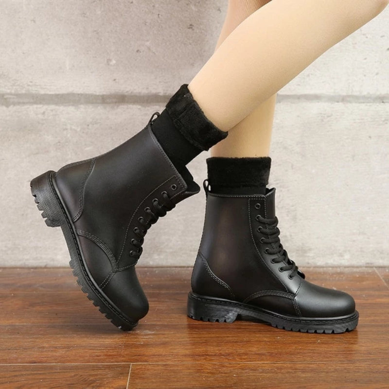 Women's Fashion Rubber Lace Up  Rain Boots