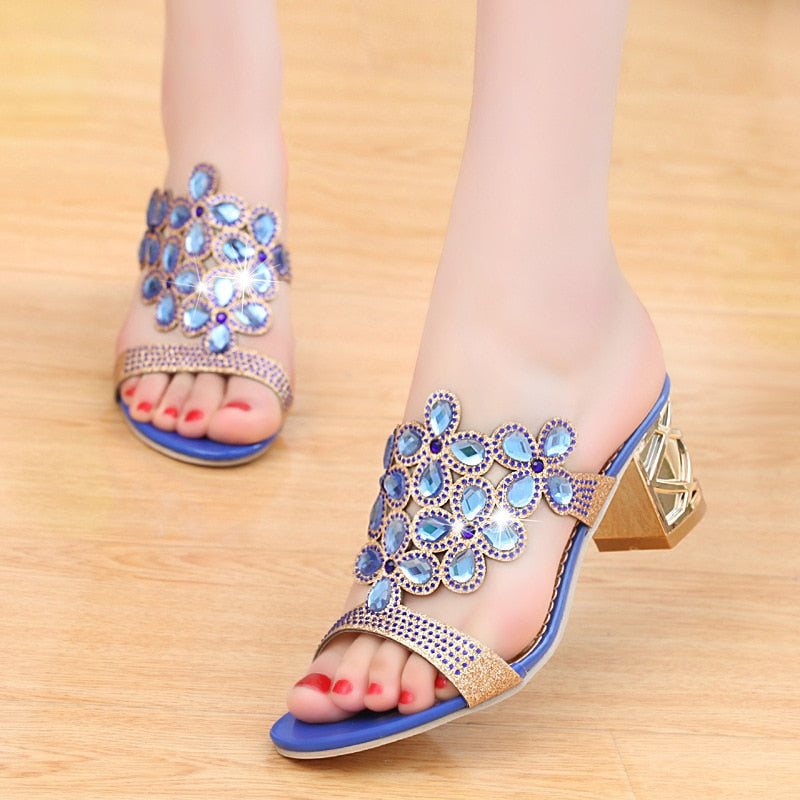 Women's Open Toe Chunky Heel Rhinestone Sandals