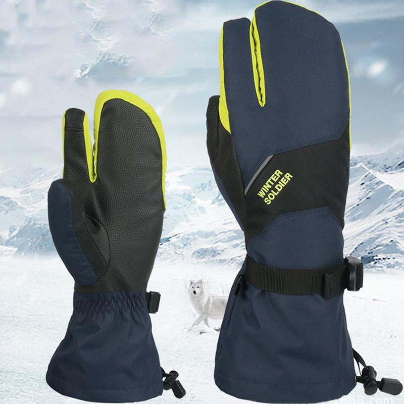Winter Waterproof Thick Touch Screen Three-Finger Ski Gloves