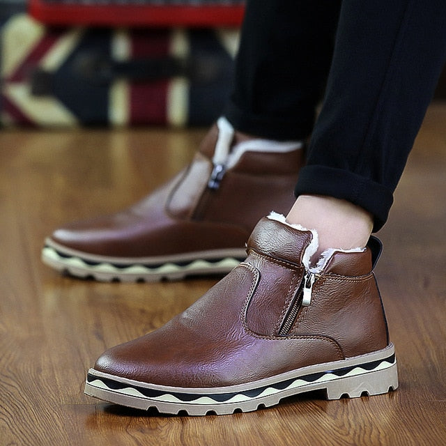 Men's Leather Ankle Zip-Up Plush Lined Low-Cut Boots