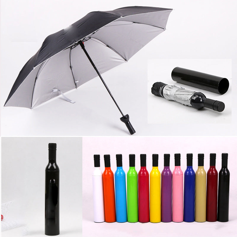 UV Wine Bottle Compact Umbrella