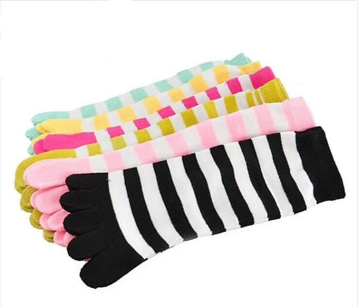 10 Pairs of Women's Candy Color Separate Toe Striped Socks