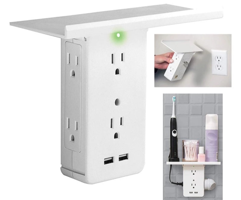 8 Port Surge Protector Multifunction Outlet Wall Plate Socket Shelf