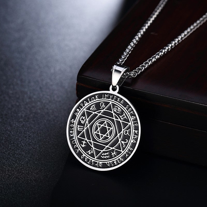 Stainless Steel Men's Star of David Pendant Necklaces with Zodiac