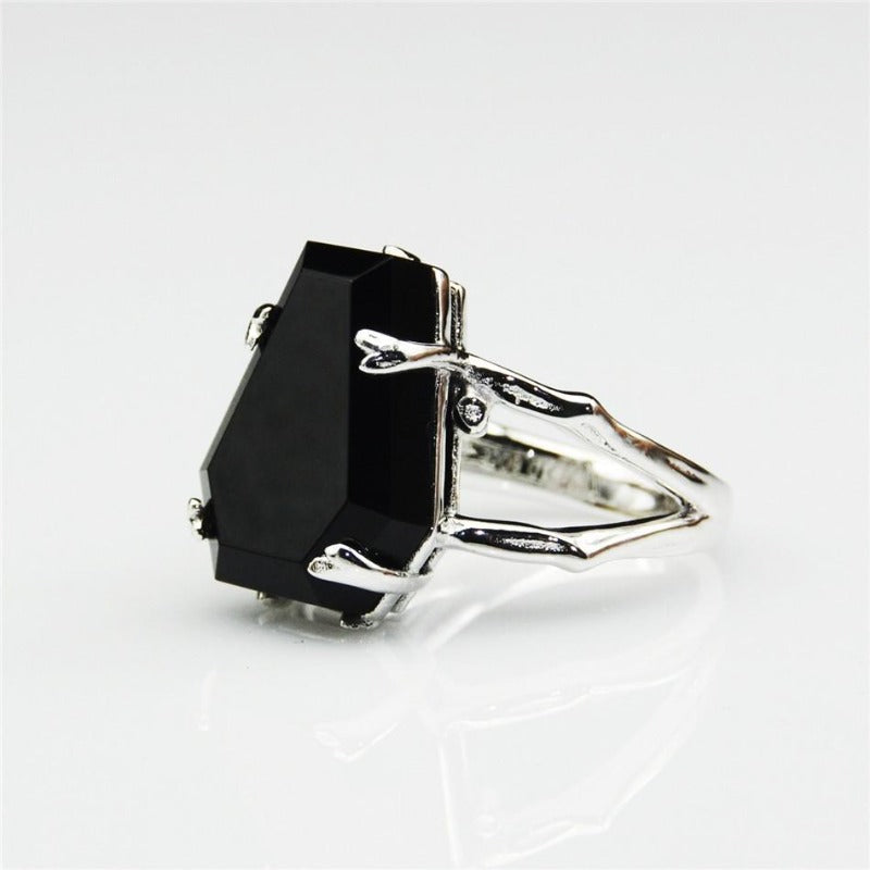 Natural Onyx Black Agate Ring
