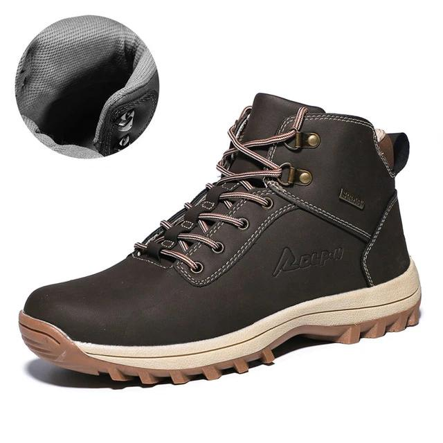 Men's Genuine Leather Handmade Waterproof Working Ankle Boots