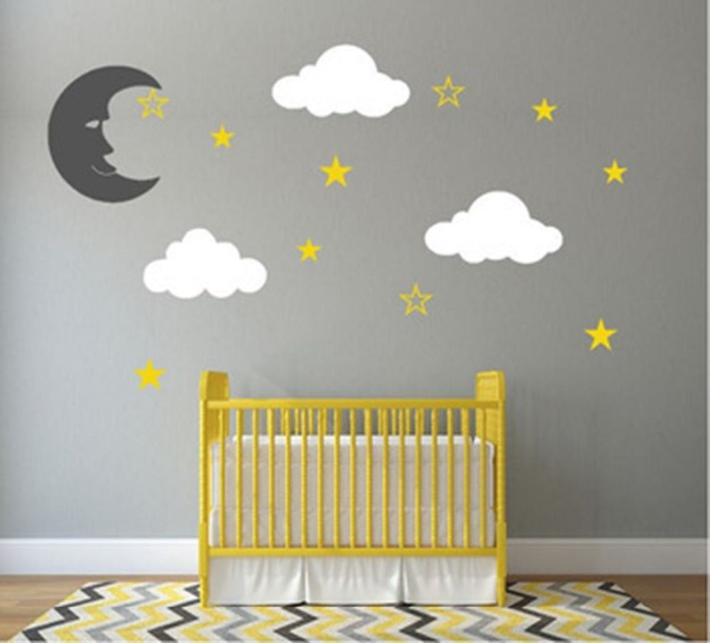 Custom Personalised Moon Stars Vinyl DIY Wall Decal Sticker Nursery boys girls Bedroom Baby Wall Decals 3d wall stickers D653