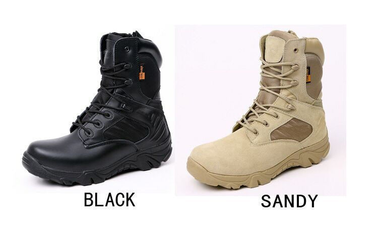 Men's Leather Waterproof Combat Style Military Boots