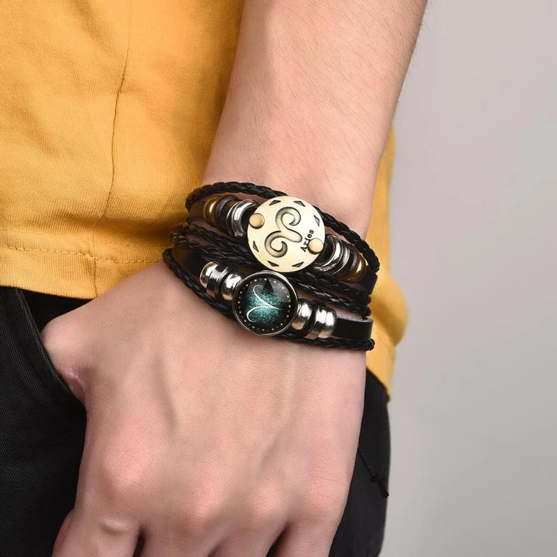 2pcs Set Constellation Bracelet Luminous Charm Leather Bracelet