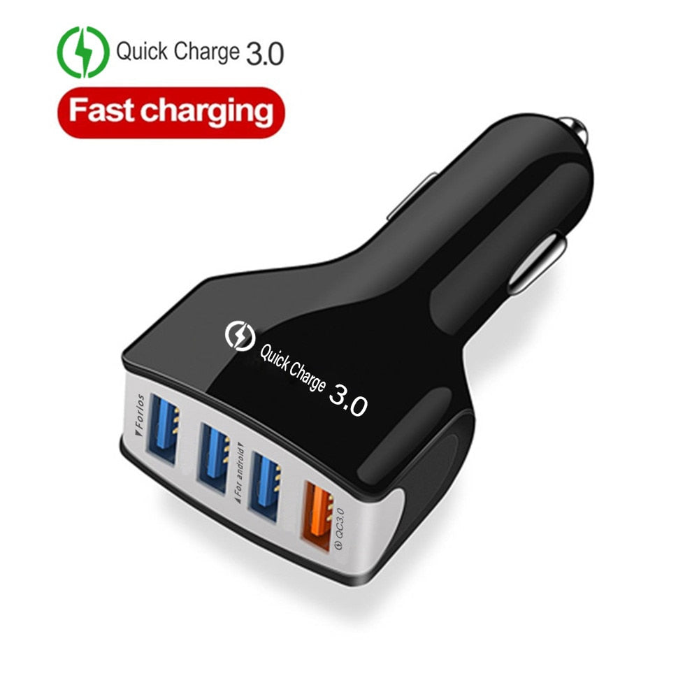 4 Port USB Car Charger 5V 7A Quick Charge 3.0 Adapter