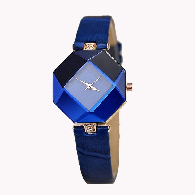 Women's Gem Cut Geometric Crystal Watch with Leather Band
