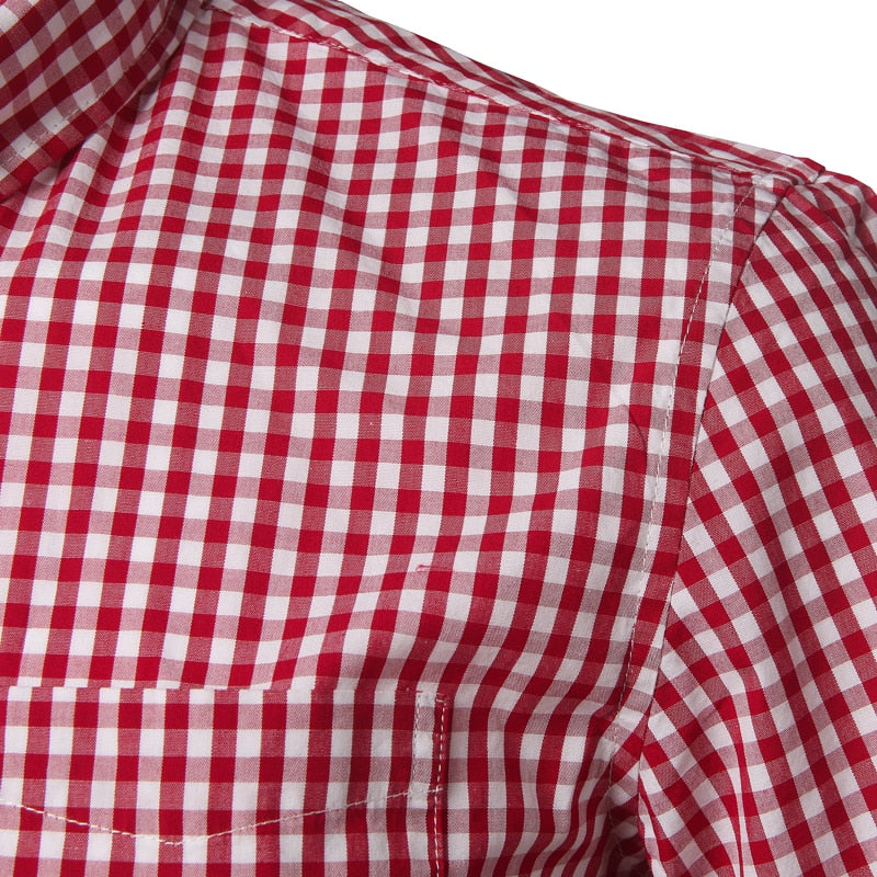 Red Men's 100% Cotton Short-Sleeved Small Check Plaid Button-Down Shirt