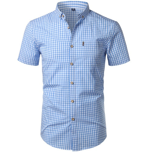 Black Men's 100% Cotton Short-Sleeved Small Check Plaid Button-Down Shirt