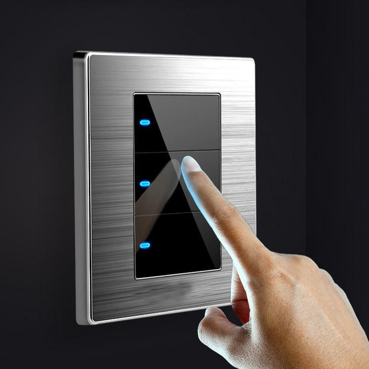 Modern Wall Switches With LED Brushed Stainless Steel Mirror