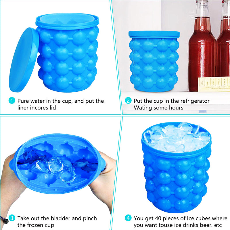 Portable 2 in 1 Large Silicone Ice Mold and Bucket with Lid