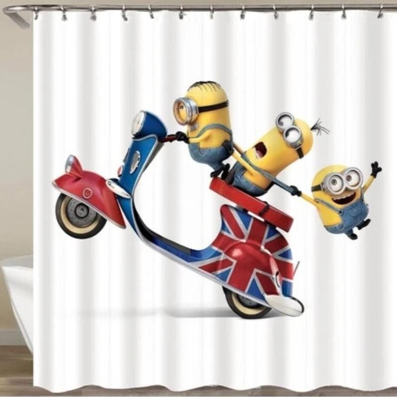 Cartoon Shower Curtain and Hooks
